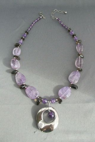 Vintage J & T Sterling Floating Amethyst Smokey Topaz Toggle Clasp Necklace
