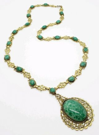Enormous Vintage Gold Tone Green Spotted Peking Glass Art Deco Link Necklace