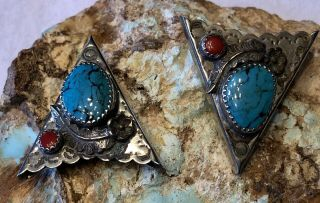 Vintage Native American Handmade Sterling Coral & Turquoise Collar Tips No Resv.