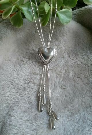 Vintage Carolyn Pollack Sterling Liquid Silver Heart Tassel Necklace 806k