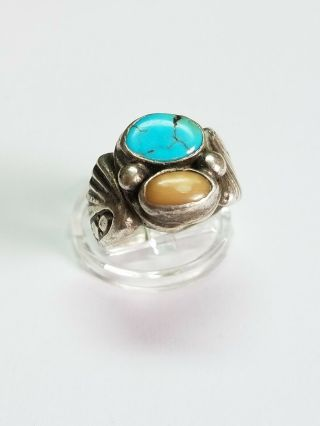 Vintage Native American 11.  3g Sterling Silver Turquoise Ring Sz 9.  5