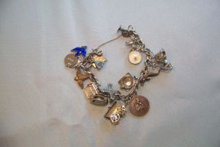 Vintage Bracelet With Sterling Silver Charms,  More