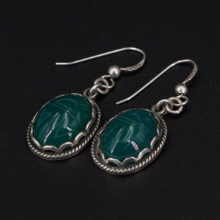 Vtg Sterling Silver - Egyptian Carved Chrysoprase Scarab Beetle Earrings - 9g