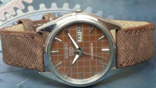 Vintage Seiko 5 Automatic Movement Day Date Dial Wrist Watch Oc244,