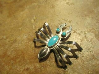 Extra Fine Vintage Navajo Sterling Silver Turquoise Lobster Bug Pin $149 Tag