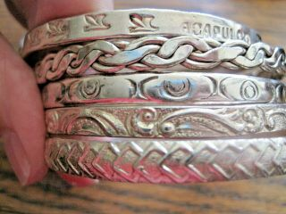 "5 Vintage Engrave Mexico Bangle Bracelets 1/4 "" Wide Scrap? Not 2.  57 Toz 7 "" Wrist"