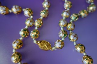 Vintage Golg Multi Color Enamel Floral Cloisonné Bead Hand Knotted Necklace
