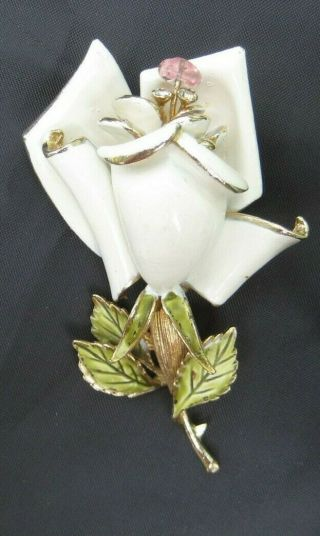 Gorgeous Vintage Coro Enamel Rose Flower Brooch Pin