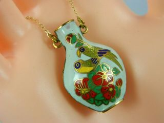"Vintage Cloisonne Hand - Painted Jar W/24 "" 14k Yellow Gold Chain Necklace"