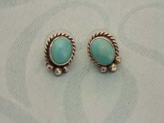 Vintage Sterling Silver Native American Turquoise Gemstone Stud Earrings Signed