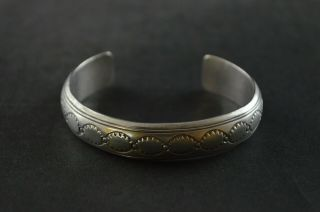 Vintage Sterling Silver Decorative Cuff Bracelet - 14g