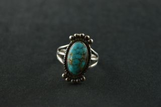 Vintage Sterling Silver Turquoise Stone Square Dome Ring - 5g