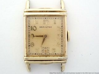 Art Deco Vintage Hamilton 982cal 19j Mens Rectangular Watch To Fix Repair Parts