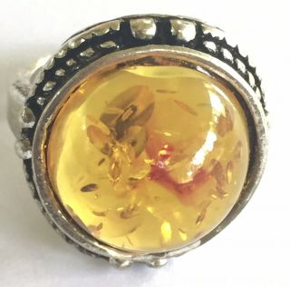 Vintage Statement Poland Baltic Honey Amber Rain Drop Rope Domed Ring Sz 7
