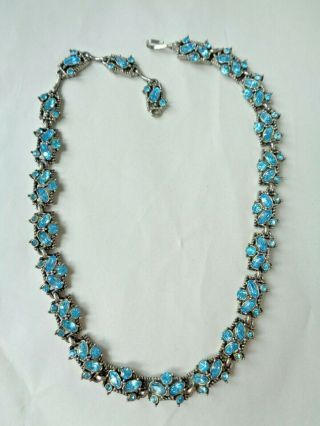 Vintage 1953 Hollycraft Turquoise Blue Rhinestone Necklace