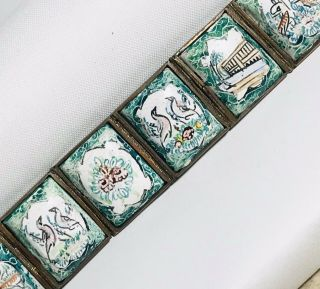 Vintage Chinese Silver Porcelain Glass Scenery Panel Bracelet : Scenes : Signed