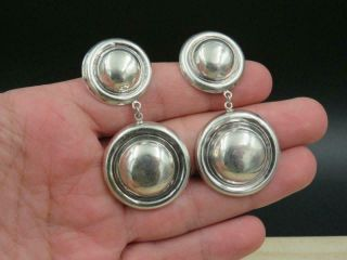 "Vintage Signed Rm Sterling Silver Modernist Dome Dangle Large 2.  5 "" Earrings"
