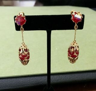 Vintage 1960s Vendome Gold Tone Burgundy Red Ab Bead Dangle Clip On Earrings