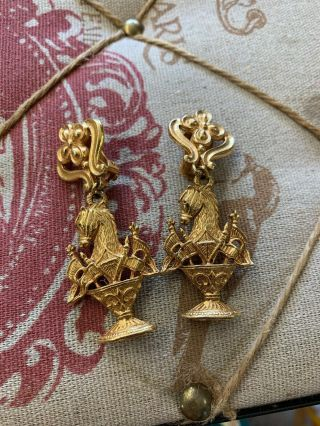 Vintage Signed Maxine Denker Costume Gold Tone Equestrian Clip On Earrings