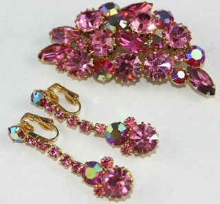 Gorgeous Vtg Gold Tone Floral Aurora Borealis Pink/fuchsia Pin & Clip Earrings