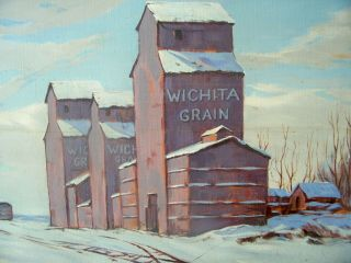 "Large Vintage Oil On Canvas Winter Landscape "" Wichita Grain "" Factory"