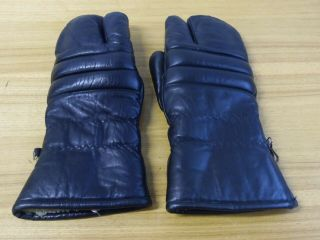 Mens Vintage Black Leather Lined Mittens Gloves Size L Ski Motorcycle Snowmobile