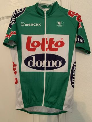Vintage Lotto Eddy Merckx Domo Team Cycling Jersey Belgium Green White Medium
