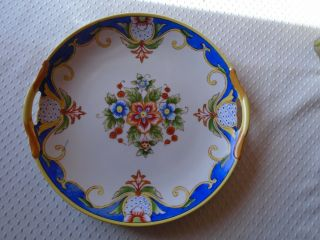 """Vintage Noritake Small Serving Tray Hand Painted With Flowers.  9 """" S Across"""