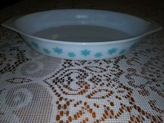 Vintage Pyrex Turquoise Snowflake Oval Casserole Baking Dish/no Lid