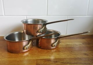 """Set 3 French Vintage Small Heavy 4 """" Copper Saucepan Pans"""