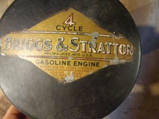 Vintage Briggs And Stratton Gasoline Engine Gas Tank With Glass Fuel Valve.