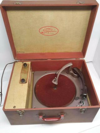 Vintage 1960 Symphonic Portable Suitcase Phonograph Record Player Model 759