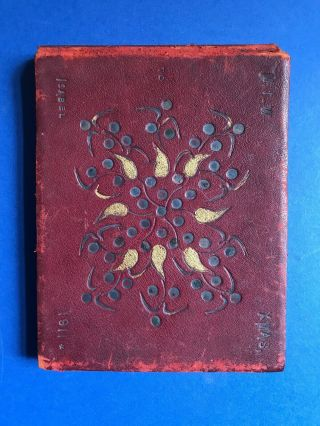 Vintage Hand Made Scrap Book 1911 Art Deco Design Leather Cover