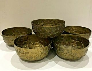 Set Of 6 Antique Vintage Brass Bowl Dancing Indian God