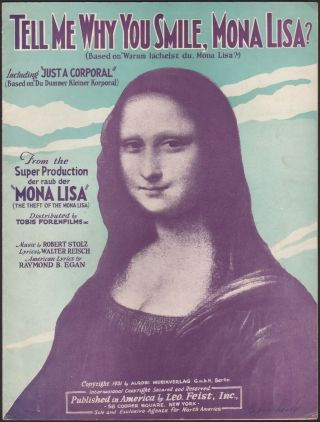 1931 The Theft Of The Mona Lisa German Film Vintage Sheet Music By Robert Stolz
