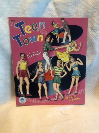 Vintage Rare 1946 Teen Town 3443 Paper Dolls By Merrill
