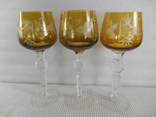3 Vintage Bohemian Traube Amber Gold Cut To Clear Wine Hock Goblet Cut Stem Ball