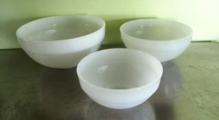 Vintage Fire King Colonial Band White Mixing,  Nesting Bowls - Set Of 3