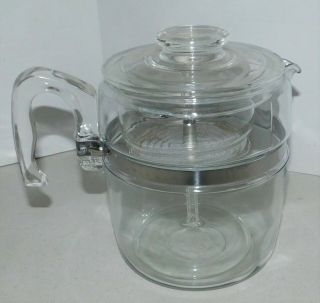 Pyrex Vintage Flameware Percolator 9 Cup Glass Coffee Pot Complete