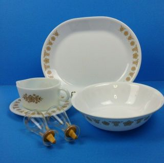 Vintage Corelle Butterfly Gold Corning Ware 6 Piece Hostess Serving Set B