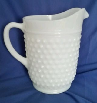 Vintage Milk Glass Water Pitcher Hobnail Opaque Lemonade