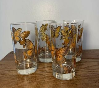 Set Of 4 Tall Clear Monarch Butterfly Drink Glasses Cup Vintage Bohemian Sparkle