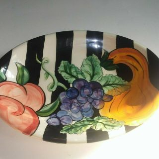 Vintage Vicki Carroll Pottery 95 98 Platter Black And White Striped Fruits