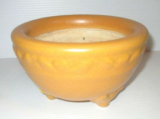 Vintage Ceramic Matte Mustard Arts & Crafts Pottery Unknown Bowl Animal Face