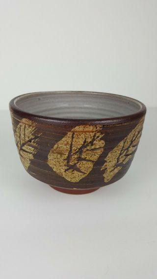 Vintage Stoneware Studio Pottery Bowl Fall Leaves Earth Tones Natural Signed