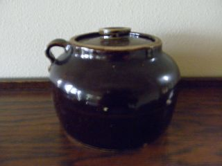 Vintage Bauer Pottery Plain Ware Brown Glaze 2 Bean Pot With Lid