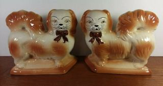 Vintage Staffordshire Style Dogs Statue Figures Brown & Cream Mantle Dogs