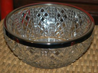 "Crystal Round Dish Bowl Removeable Silverplate Rim 3.  5 "" X8.  5 "" Cut Glass Vintage"