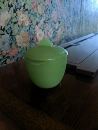 Vintage Jadeite Sugar Bowl Fire - King Oven Ware