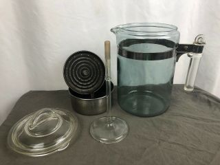Rare Vintage Pyrex Fire Ware Glass 9 Cup Percolator Coffee Pot Complete 7829 - B